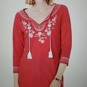 NWT Charter Club embroidered peasant pink blouse